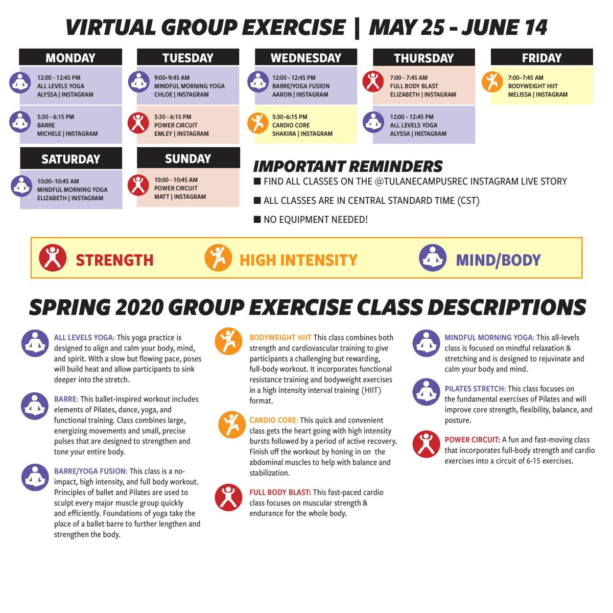 Virtual Group Exercise May 25 - June 14