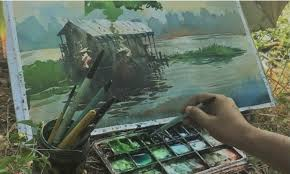 Scenic watercolor painting