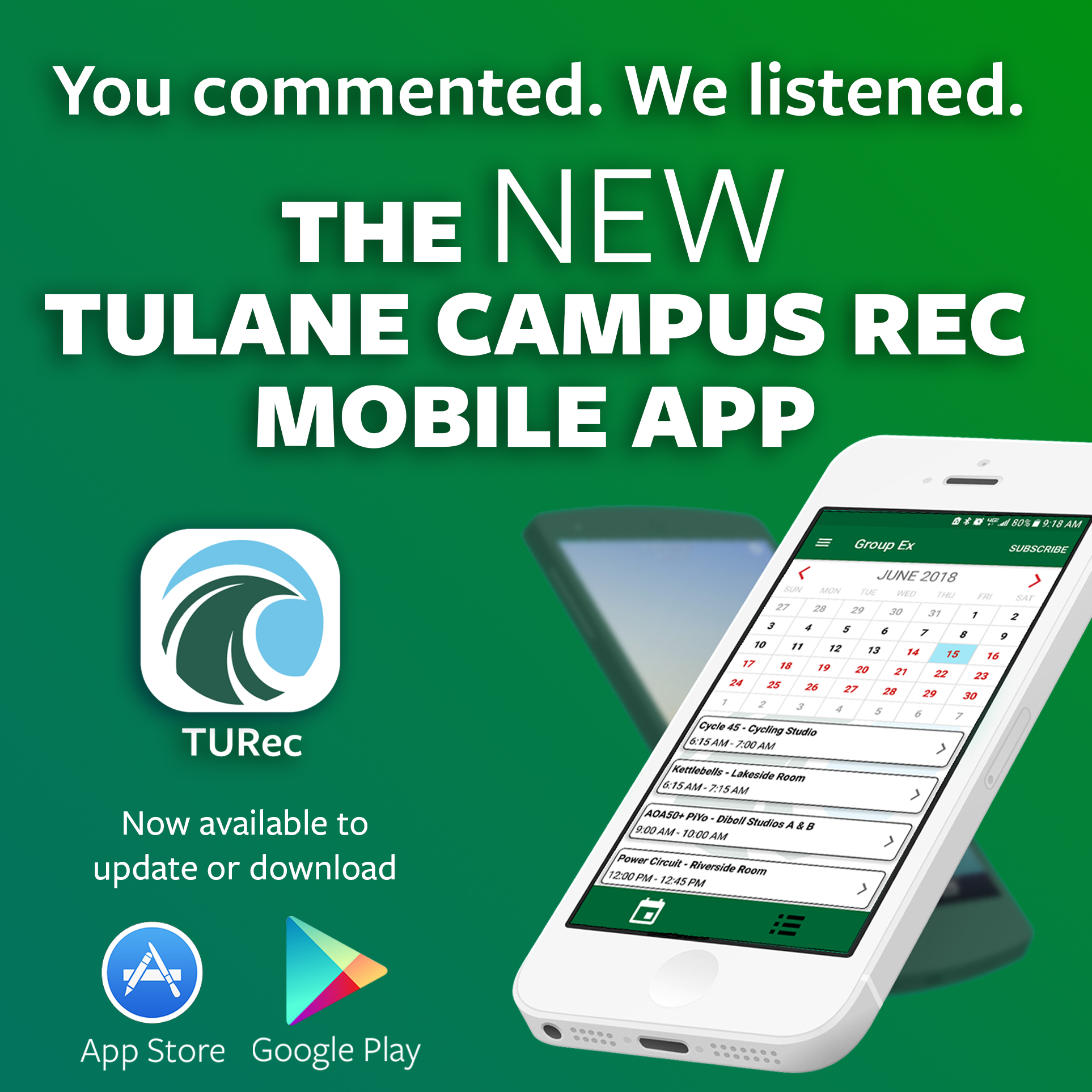 Follow this link to download the new Tulane Campus Recreation Mobile App